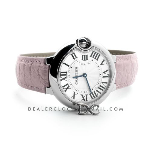 Ballon Bleu de Cartier 36mm White Dial in Steel on Light Pink Leather Strap