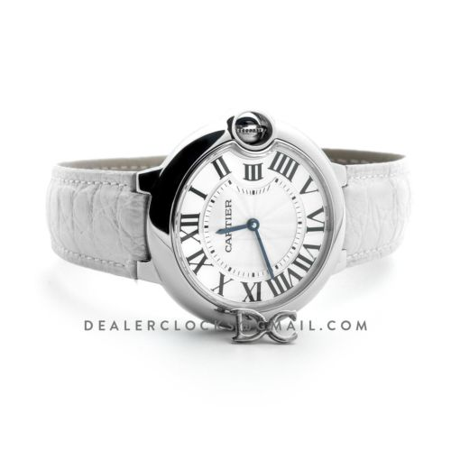 Ballon Bleu de Cartier 36mm White Dial in Steel on White Leather Strap