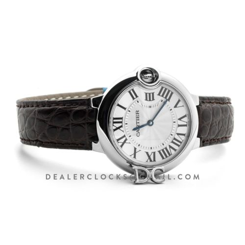 Ballon Bleu de Cartier 36mm White Dial in Steel on Brown Leather Strap