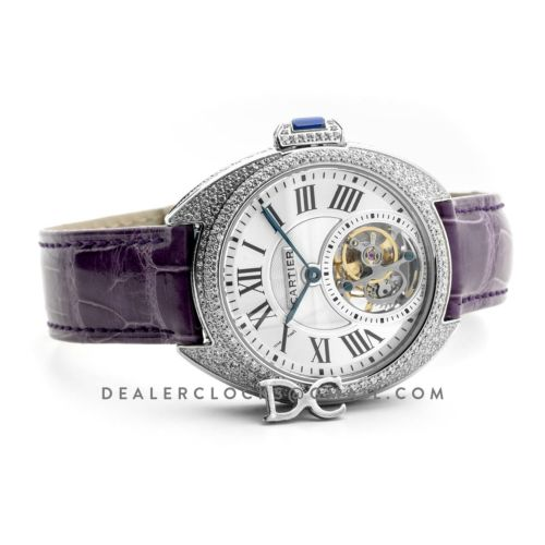 Cle de Cartier Tourbillon with Diamond Bezel in White Gold 35mm on Purple Leather Strap