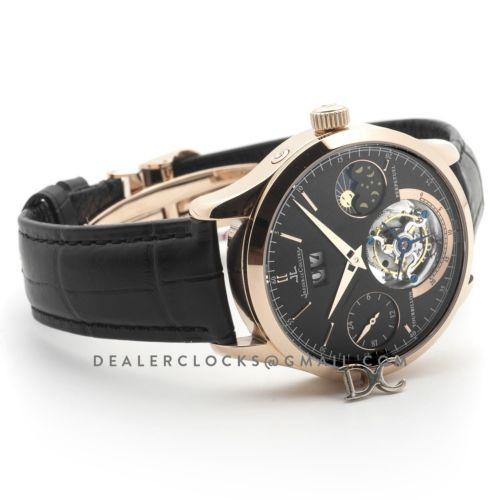 Master Grande Tradition Tourbillon Black Dial in Rose Gold on Black Leather Strap