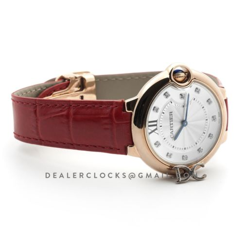 Ballon Bleu de Cartier 33mm White Dial in Rose Gold on Red Leather Strap