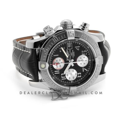 Colt Chronograph 44mm Black Dial in Steel on Black Leather Strap