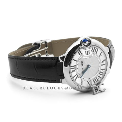 Ballon Bleu de Cartier 36mm White Dial in Steel on Black Leather Strap