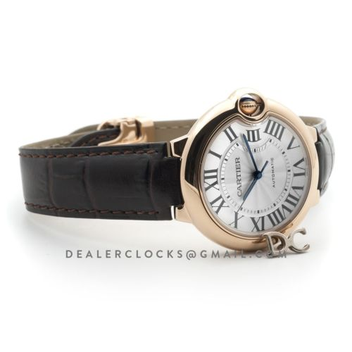 Ballon Bleu de Cartier 36mm White Dial in Rose Gold on Brown Leather Strap