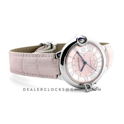 Ballon Bleu de Cartier 36mm Pink Dial in Steel on Pink Leather Strap