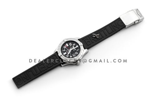 Avenger II GMT Black Dial in Steel on Rubber Strap