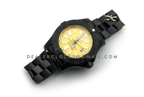 Avenger II Seawolf Blacksteel Yellow Dial in DLC Steel on Bracelet