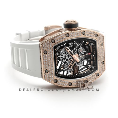 RM 035-02 Black Toro Americas in Rose Gold with Diamond Bezel on White Rubber Strap