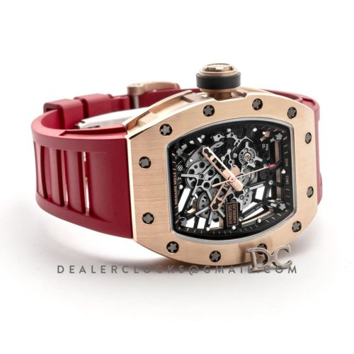 RM 035-02 Black Toro Americas in Rose Gold on Red Rubber Strap