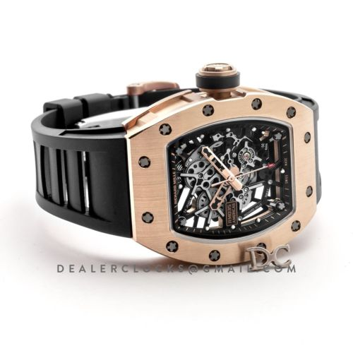 RM 035-02 Black Toro Americas in Rose Gold on Black Rubber Strap