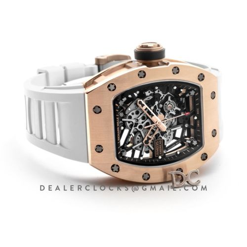 RM 035-02 Black Toro Americas in Rose Gold on White Rubber Strap
