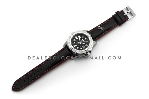 Avenger II Seawolf Black Dial in Steel on Leather Strap