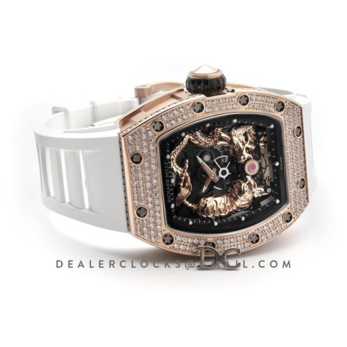 RM 051-01 Tourbillion Tiger and Dragon in Rose Gold with Diamond Bezel on White Rubber Strap