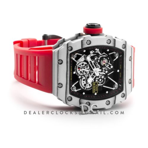 RM 035-01 Rafael Nadal Last Edition in White TPT Quartz / NTPT Carbon on Red Rubber Strap