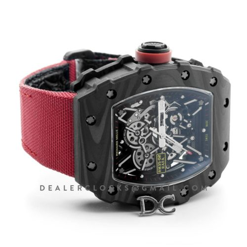 RM 035-02 Rafael Nadal Carbon on Red Nylon Strap