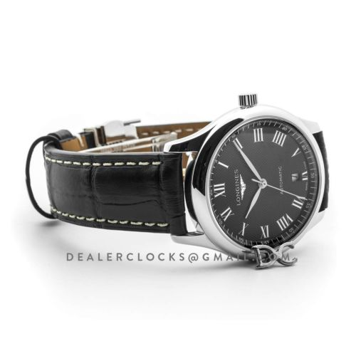 The Longines Master Collection Black Dial in Steel on Black Leather Strap
