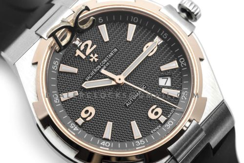 Overseas Automatic Black Dial Rose Gold Bezel in Steel