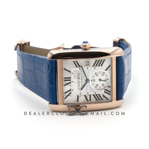 Tank MC Watch in Rose Gold on Blue Leather Strap