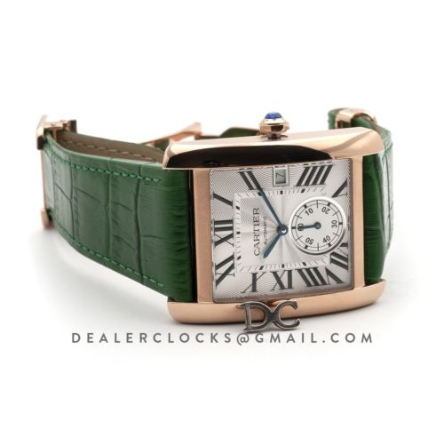 Tank MC Watch in Rose Gold on Green Leather Strap