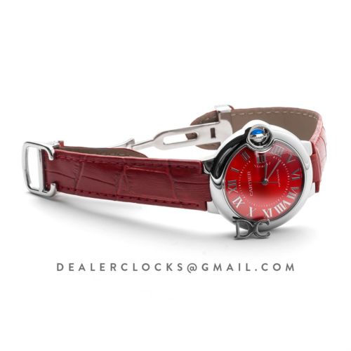 Ballon Bleu de Cartier 33mm Red Dial in Red Leather Strap