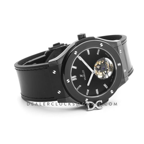 Classic Fusion Tourbillon 45mm PVD Black Dial on Black Leather Strap