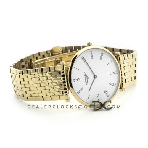La Grande Classique De Longines 37mm White Dial in Yellow Gold on Bracelet