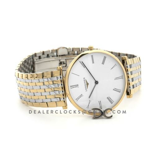 La Grande Classique De Longines 37mm White Dial in Yellow Gold on Two Toned Bracelet
