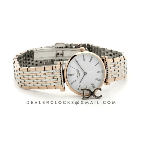 La Grande Classique De Longines 24mm White Dial in Rose Gold on Two Toned Bracelet