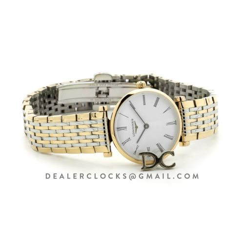 La Grande Classique De Longines 24mm White Dial in Yellow Gold on 2 Toned Bracelet