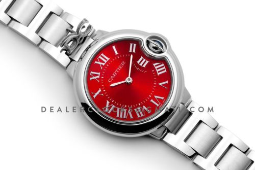 Ballon Bleu de Cartier 33mm Quartz Red Dial on Steel