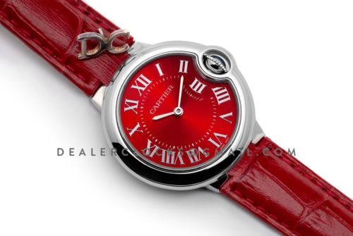 Ballon Bleu de Cartier 33mm Quartz Red Dial in Red Leather Strap