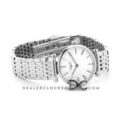 La Grande Classique De Longines 24mm White Dial in Steel on Bracelet