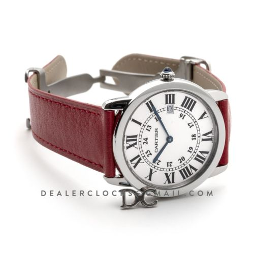 Ronde Solo de Cartier 36mm White Dial in Steel on Red Leather Strap