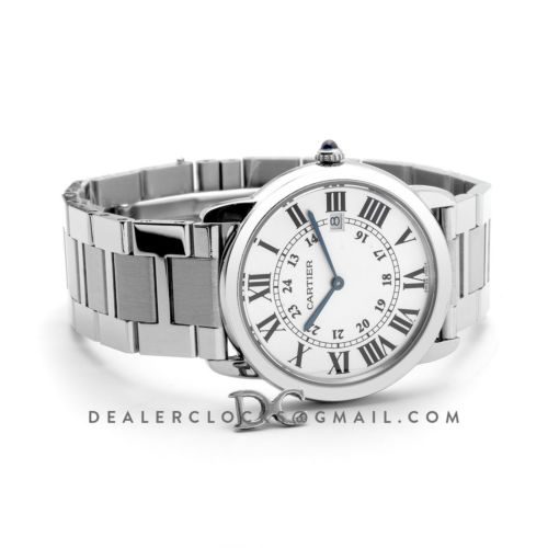 Ronde Solo de Cartier Watch 36mm White Dial in Steel on Bracelet