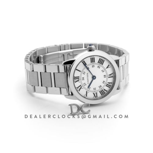 Ronde Solo de Cartier Watch 29mm White Dial in Steel on Bracelet