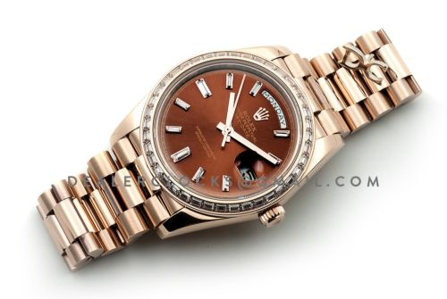 Day-Date 40 Everose Gold Diamond Bezel 228235 Chocolate Dial