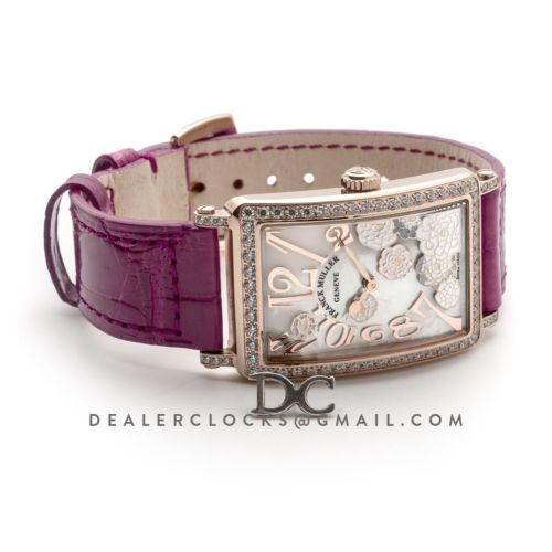 Long Island Peony in Rose Gold on Pink Leather Strap