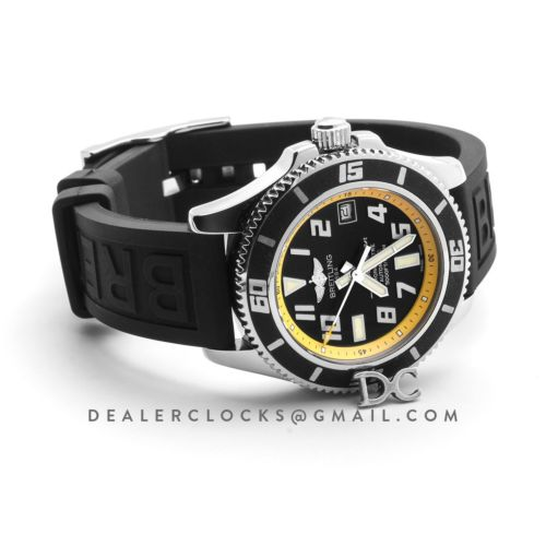 Superocean II 42 Black/Yellow Dial in Steel