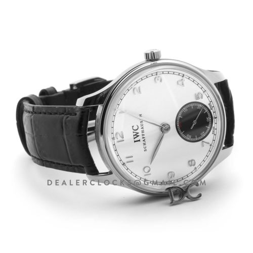 Portuguese Hand Wound Eight Days IW545405 White Dial in Steel