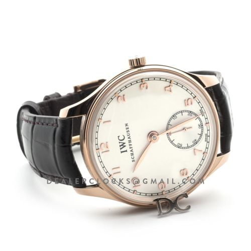 Portuguese Hand Wound Eight Days IW545409 White Dial in Rose Gold