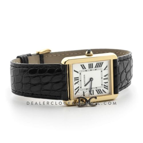 Tank Solo Watch in Yellow Gold on Alligator Strap