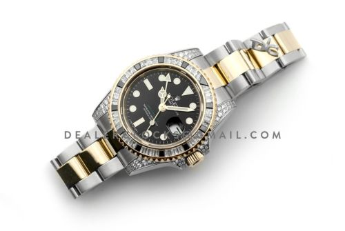GMT Master II 116713 in Black Dial in Yellow Gold/Steel with Paved Diamond Bezel