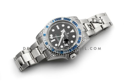GMT Master II 116758SA Black Dial in Steel with Blue/White Paved Diamonds
