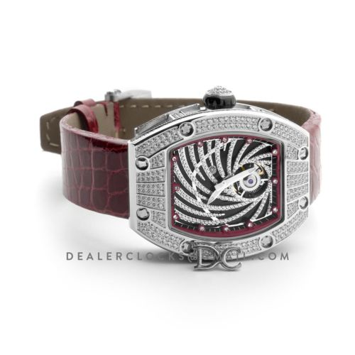 RM 051-02 Tourbillon Diamond Twister in White Gold on Red Strap
