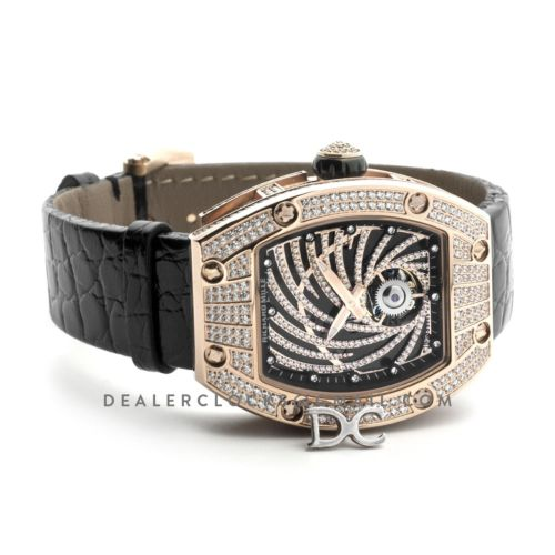 RM 051-02 Tourbillon Diamond Twister in Rose Gold on Black Strap