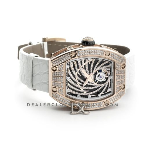 RM 051-02 Tourbillon Diamond Twister in Rose Gold on White Strap