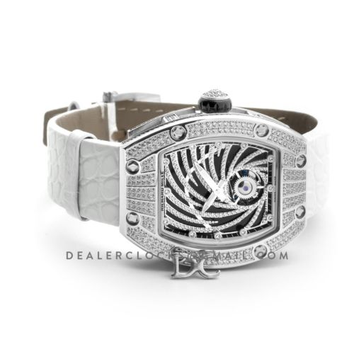 RM 051-02 Tourbillon Diamond Twister in White Gold on White Strap