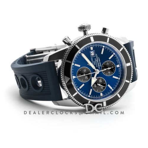 Superocean Heritage II Chronograph 46 Blue Dial in Steel on Rubber Strap