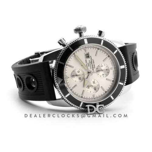 Superocean Heritage II Chronograph 46 Silver Dial in Steel on Rubber Strap